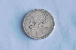 Canada 1958 Silver Quarter 25 Cent Twenty - Five Vg - 8 photo