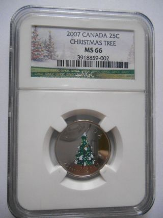2007 Canada 25 Cent  Christmas Tree  Ngc Ms 66 photo