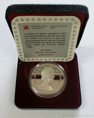1984 Royal Canadian Silver Dollar Proof Coin And Papers photo