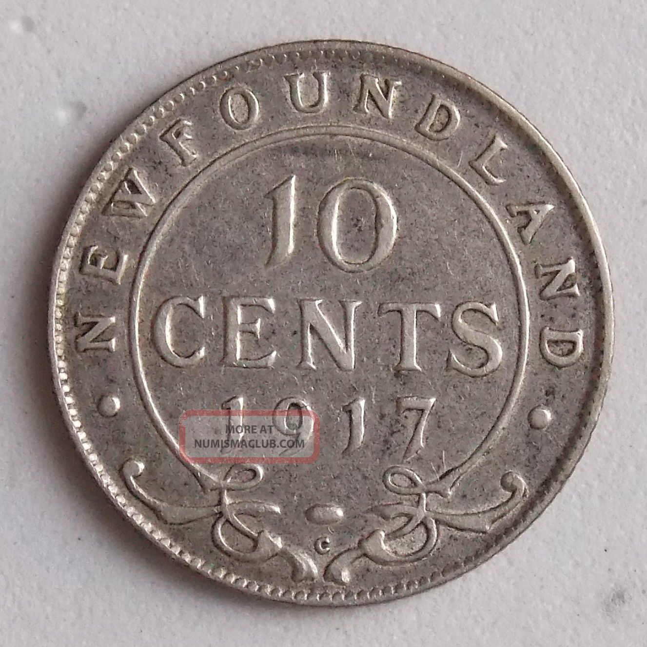 1917 10 Ten Cent Newfoundland Canada Canadian Old Silver