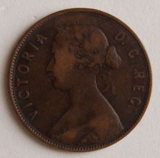 1872 Large 1 (one) Cent Newfoundland Canada Canadian Old Victoria Coin photo