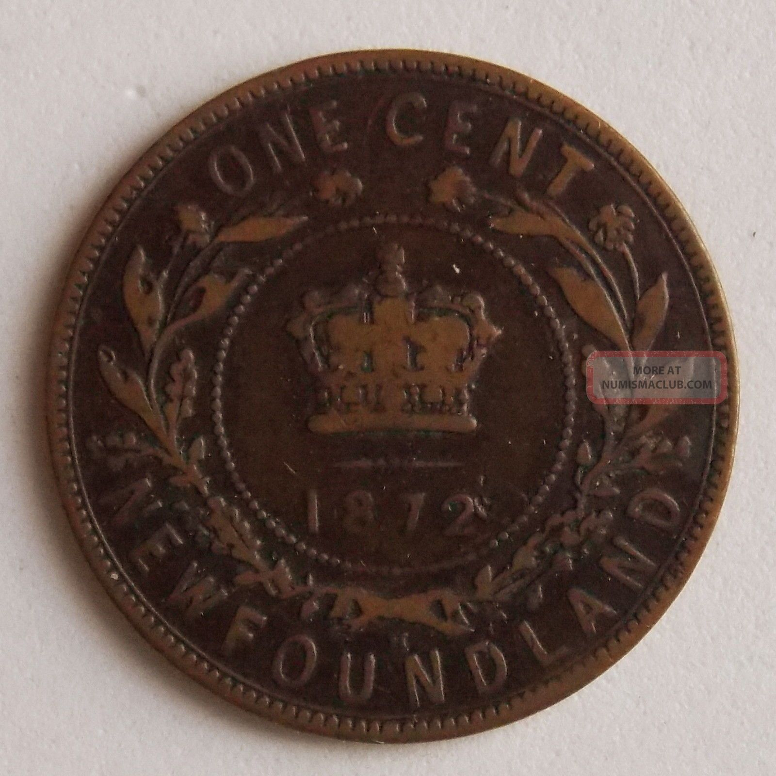 1872 Large 1 One Cent Newfoundland Canada Canadian Old