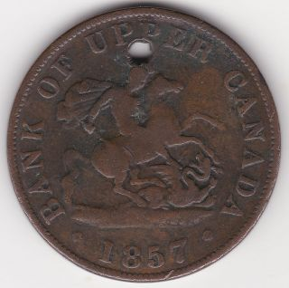 1857 Bank Of Upper Canada 1/2 Penny Coin - 157 Years Old photo