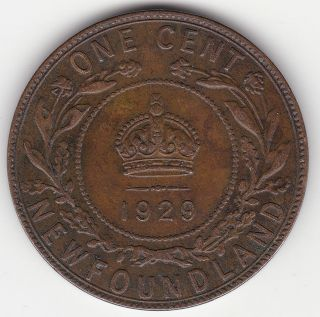 1929 Newfoundland 1 Cent Coin photo