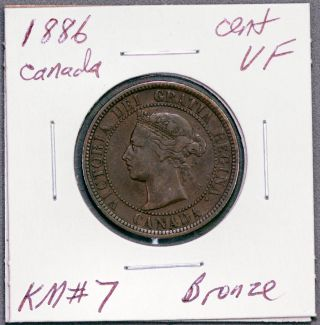 1886 Canada Large Cent Vf Km 7 Bronze photo