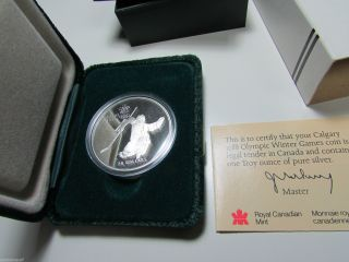 1986 Canada Calgary Olympic 3 Hockey Sterling Silver Proof $20 Coin 1988 photo