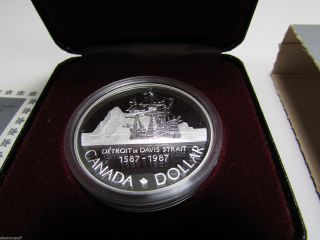 1987 Canada Cased Proof Silver Dollar,  Royal Canadian,  Davis Strait Coin photo