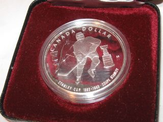 1993 Canada Silver Proof Dollar - 100th Anniversary Of Stanley Cup 1 Oz photo