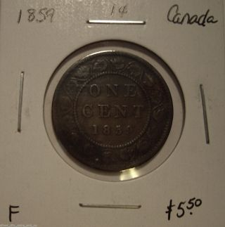 Canada Victoria 1859 Large Cent - F photo