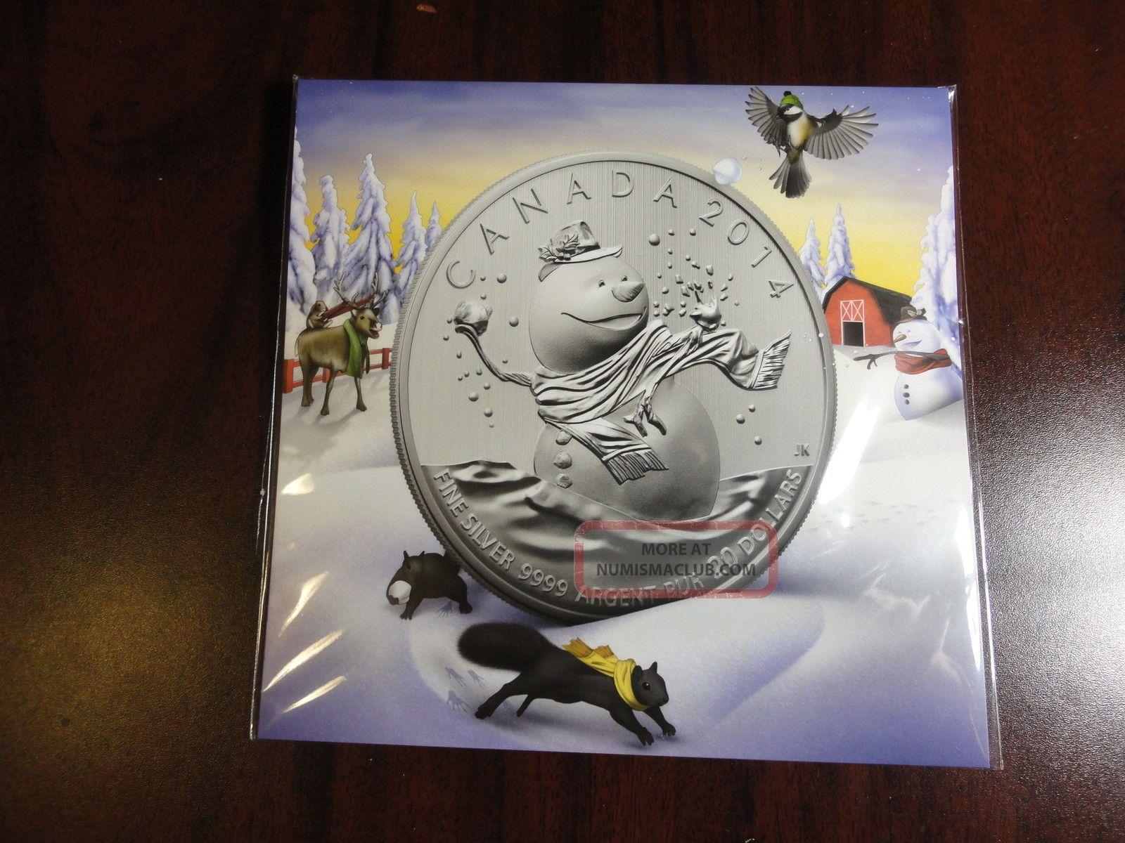 Xmas Gift 2014 Canada Fine Silver Christmas Snowman Coin