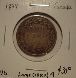 Canada Victoria 1894 Large 4 Large Cent - Vg photo