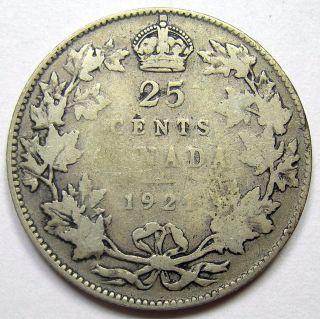 1921 Twenty - Five Cents G - 6 G - Vg Scarce Date Low Minted Key King George V Quarter photo