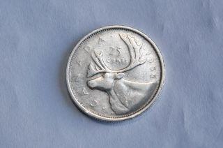 Canada 1955 Silver Quarter 25 Cent Twenty - Five Vg - 8 photo