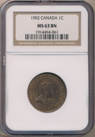 1902 Canada One Cent Ngc Ms 63 Bn photo
