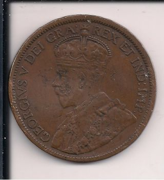 1 - 1914 Canada Large Cent 1c George V Circulated Brass Coin 100 Years Old photo