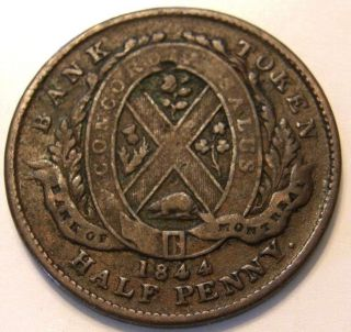 1844 Token Of The Province Of Canada Half Penny Token Bank Of Montreal photo