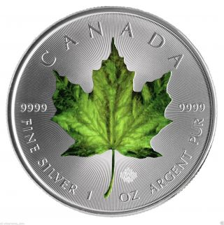 2014 1 Oz Silver Coin - Canadian Maple Leaf - Green photo