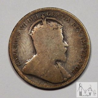 1905 Edward Vii 7th Canada Good Details 25 Cents Silver Coin photo