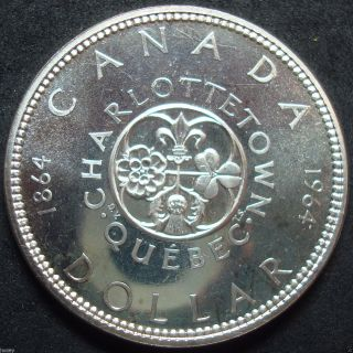 1964 Canada Proof Like Charlottetown - Quebec Silver Dollar Coin photo