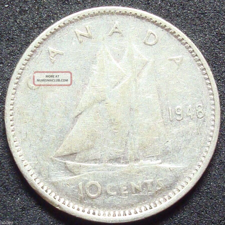1948 Canada Silver Ten Cent Coin
