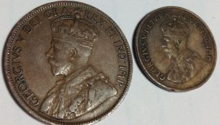 A 1920 Canada Large Cent And Small Cent - photo