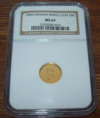 1994 Canada Gold Maple Leaf $2 Ngc Ms67 1/15th Oz.  Gold Coin Mintage 3,  540 Rare photo