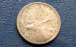 . 800 Silver 1959 Canada 25 Cents Caribou Circ Coin 664 photo
