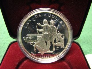 1990 Canada Rcm Silver Dollar Kelsey Silver Coin W/ Black Box & photo