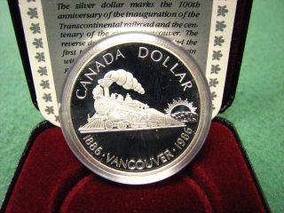 1986 Canada R.  C.  M.  Silver Dollar Vancouver Train Silver Coin W/ Black Box & photo