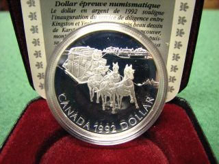 1992 Canada Rcm Silver Dollar Stagecoach Silver Coin W/ Black Box & photo