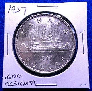 Canada 1937 Silver Dollar,  Km 37,  Top Grade Au Or Uncirculated photo