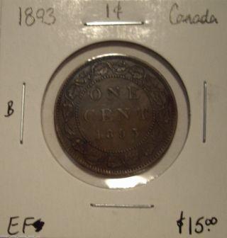 B Canada Victoria 1893 Large Cent - Ef photo
