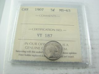 Canada 1907 Five Cents Iccs Ms - 63 photo
