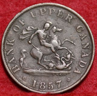 1857 Bank Of Upper Canada 1 Penny Token Foreign Coin S/h photo