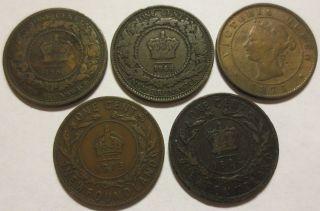 5 Canada Cents 1894,  1913 Newfoundland,  Brunswick 1861/64,  1871 Pei (111756e photo