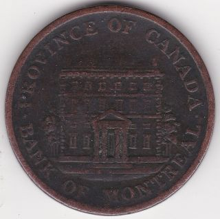 1844 Province Of Canada Half Penny - Bank Of Montreal - 170 Years Old photo