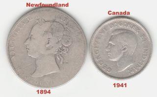 1894 - Fifty Cent Newfoundland Pre - Confederation Canada &1941 - 25 Five Cent. photo