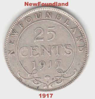 1917 Newfoundland Silver Quarter - Pre - Confederation Canada - Early Date Coin. photo