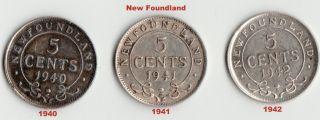 1940,  1941,  1942 - Newfoundland 5 Cents.  925 Silver.  Pre - Confederation Canada photo