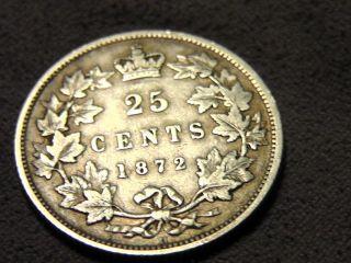 1872 H Canada Twenty Five Cents 25c photo