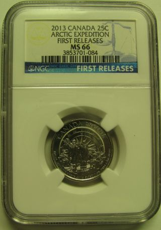 2013 Ngc Ms66 25 Cents Arctic Expedition (finish B) 1st Releases Canada Twenty - F photo