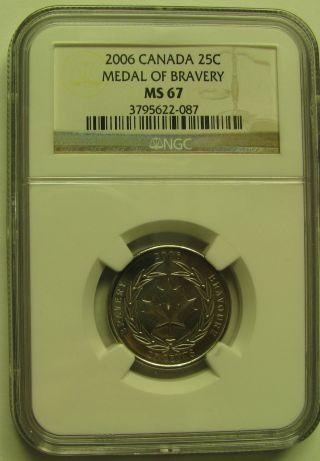 2006 Ngc Ms67 25 Cents Medal Of Bravery Canada Twenty Five Quarter photo