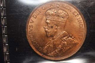 1913 Canada.  Large Cent.  Iccs Graded Ms - 63 Red (spot) (bm558) photo