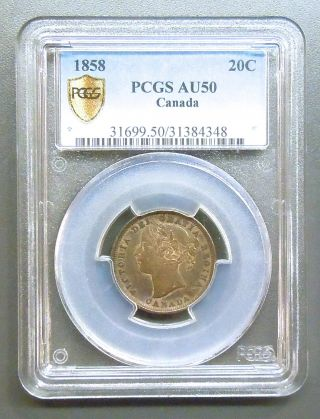 Canada Km 4,  1858 Twenty Cents Graded Pcgs Au50 (8 Photos) photo
