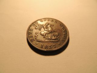 1857 Half Penny Coin Token Bank Of Upper Canada photo