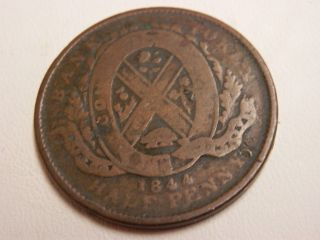 1844 Canada Token - Bank Of Montreal Half Penny photo