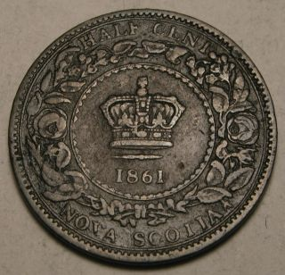 Canada - Nova Scotia 1/2 Cent 1861 - Bronze - Victoria 1505 photo