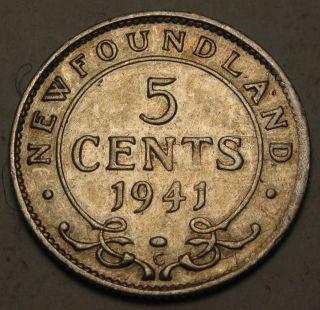 Canada - Foundland 5 Cents 1941 C - Silver - George Vi.  - Vf 1499 photo