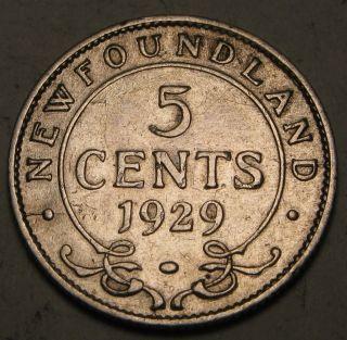 Canada - Foundland 5 Cents 1929 - Silver - George V.  1504 photo