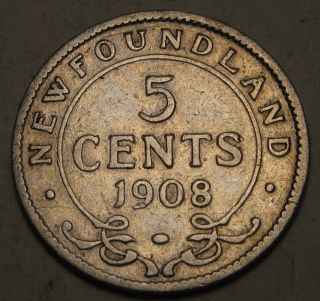 Canada - Foundland 5 Cents 1908 - Silver - Edwardvs Vii.  1502 photo